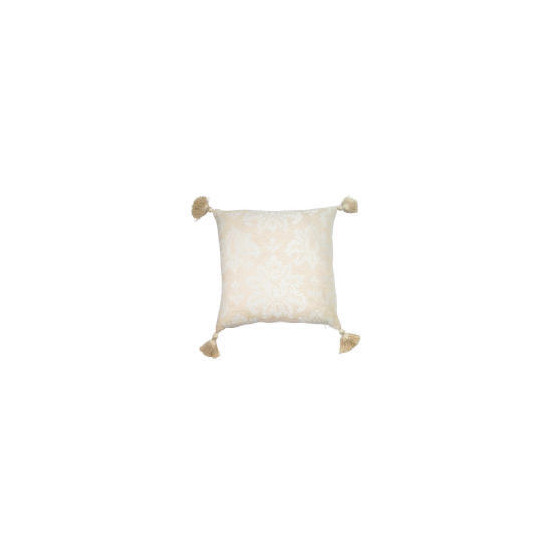 Tesco Damask Chenille Tassel Cushion , Natural