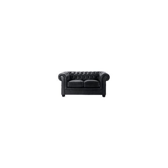 Chesterfield Leather Sofa, Black