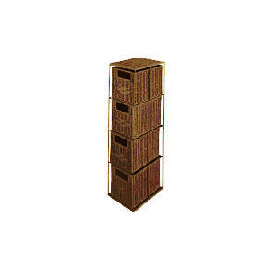 Photo of Tesco Rattan 4 Drawer Tower Dark Natural Household Storage