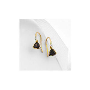 Photo of 9CT Gold Smoky Quartz and Diamond Earrings Jewellery Woman