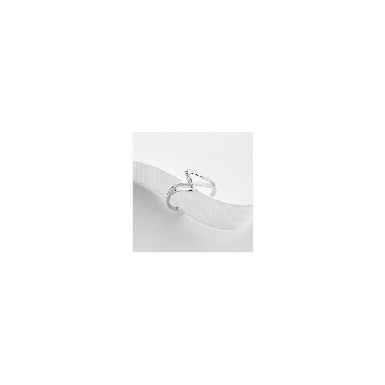 9ct White Gold Diamond Ring J