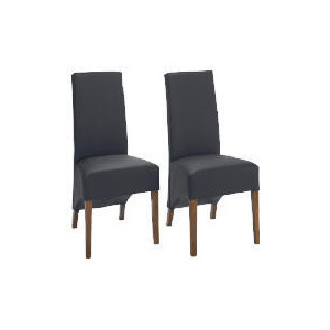 Photo of Pair Of Monterosso Chairs, Black Leather With Sheesham Effect Legs Furniture