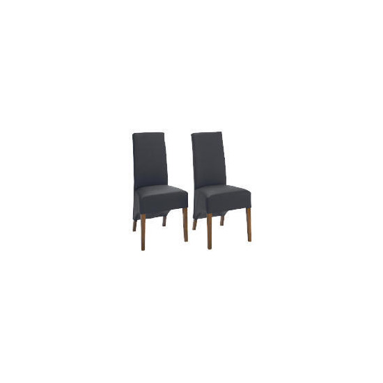 Pair of Monterosso Chairs, Black Leather with Sheesham effect legs