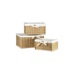 Photo of Seagrass Lined Baskets Set Of 3 Household Storage