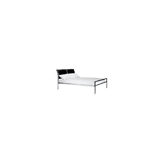Bern Faux Leather King Bed, Black & Chrome