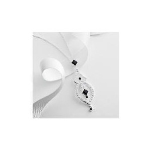 Photo of Sterling Silver Black and White Crystal Pendant Jewellery Woman