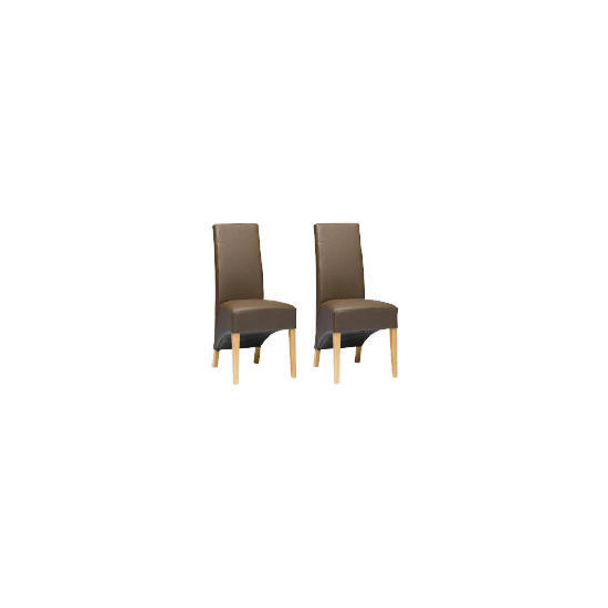 Pair of Monterosso Chairs, Brown Leather with Oak legs