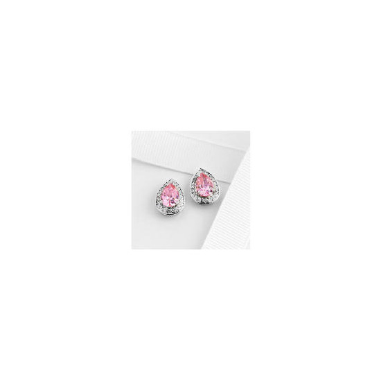 Adrian Buckley Pink and White Cubic Zirconia Earrings