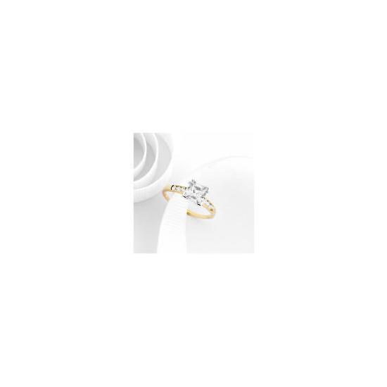 9ct Gold Cubic Zirconia Ring L