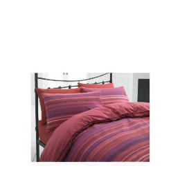 Tesco Stripe Single Duvet Set, Plum/ Red Reviews