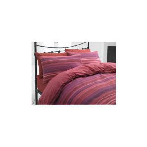 Photo of Tesco Stripe Single Duvet Set, Plum/ Red Bed Linen
