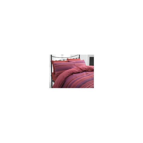 Tesco Stripe Single Duvet Set, Plum/ Red