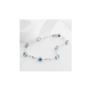 Photo of 9CT White Gold Blue Topaz Bracelet Jewellery Woman