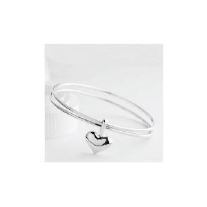 Photo of Sterling Silver Bangle With Heart Charm Jewellery Woman