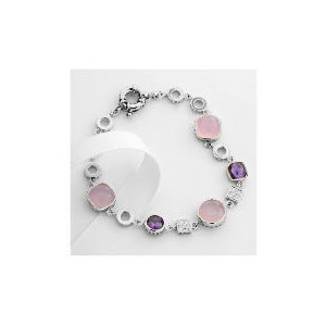 Photo of Adrian Buckley Pink and Purple Cubic Zirconia Bracelet Jewellery Woman