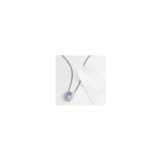 Adrian Buckley Lavender and White Cubic Zirconia Pendant