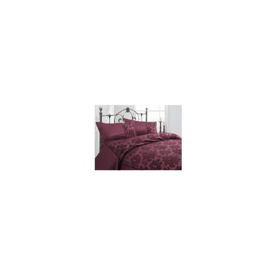 Tesco Satin Flock Damask Double Duvet Set, Plum