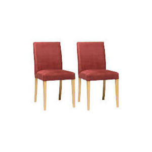 Photo of Pair Of Special Edition Sorrento Low Back Upholstered Chairs, Aubergine Faux Suede With Oak Legs Furniture