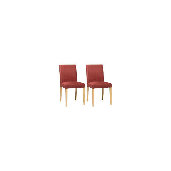 Pair of Special Edition Sorrento low back upholstered Chairs, Aubergine Faux Suede with Oak legs