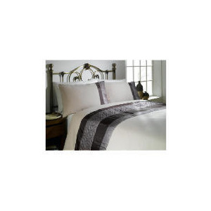 Photo of Tesco Geo Quilted Cuff Double Duvet Set, Mocha Bed Linen