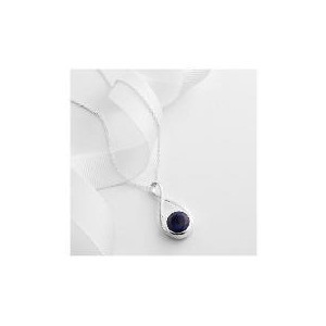 Photo of Sterling Silver Blue Crystal Zirconia Pendant Jewellery Woman