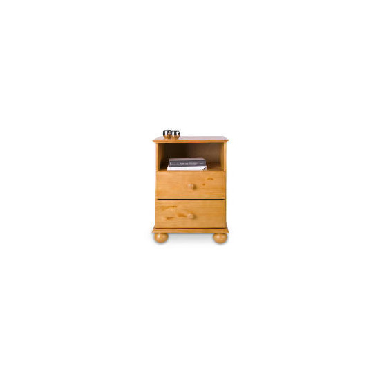 Vermont 2 drawer Bedside table, Antique Pine