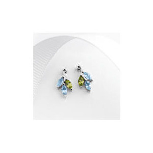 Photo of 9CT White Gold Peridot and Blue Topaz Earrings Jewellery Woman