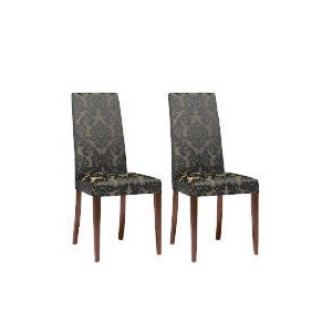 Photo of Pair Of Special Edition Lucca  High Back Upholstered Chairs, Black Damask With Walnut Stained Beech Legs Furniture