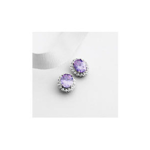 Photo of Adrian Buckley Lavender and White Cubic Zirconia Earrings Jewellery Woman
