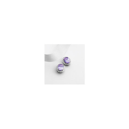 Adrian Buckley Lavender and White Cubic Zirconia Earrings