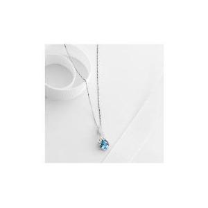 Photo of 9CT White Gold Blue Topaz and Diamond Pendant Jewellery Woman