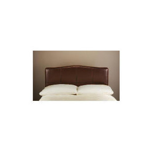 Photo of Miro Bi-Cast Leather Double Headboard, Brown With Stitching Bedding