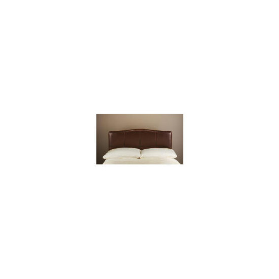 Miro Bi-Cast Leather Double Headboard, Brown with Stitching