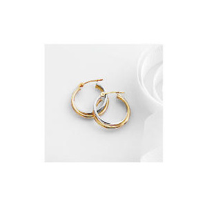 Photo of 9CT 2 Colour Gold Hoops Jewellery Woman