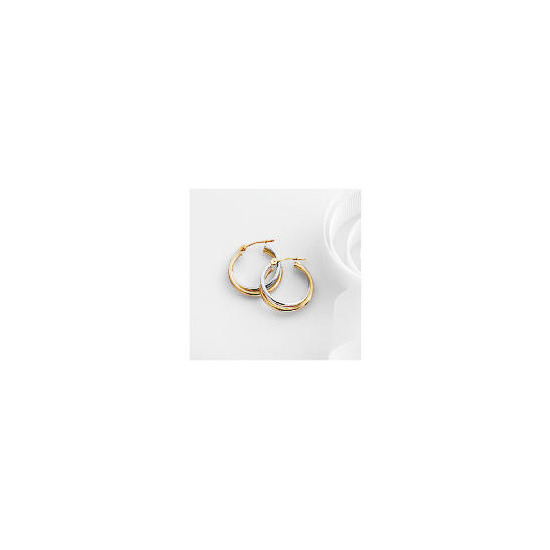 9ct 2 colour gold hoops