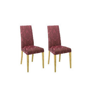 Photo of Pair Of Special Edition Lucca  High Back Upholstered Chairs, Purple Damask With Oak Legs Furniture