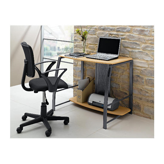 City Desk with USB Port, Maple effect
