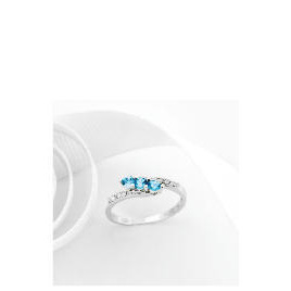 9ct White Gold Blue Topaz and Diamond Ring O Reviews