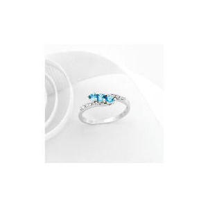 Photo of 9CT White Gold Blue Topaz and Diamond Ring O Jewellery Woman