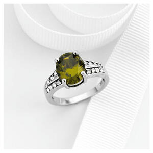 Photo of Sterling Silver Green Cubic Zirconia Ring Jewellery Woman