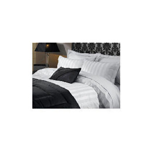Photo of Hotel 5* Satin Stripe Double Duvet Set, White Bed Linen
