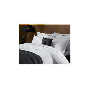 Photo of Hotel 5* Jacquard Check Super King Duvet Set, White Bed Linen