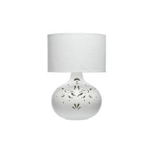 Photo of Tesco Ceramic Cutout Table Lamp, White Lustre Lighting