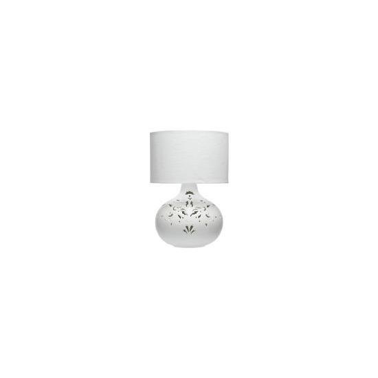 Tesco Ceramic Cutout Table Lamp, White Lustre