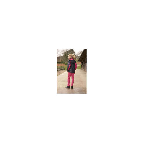 Girls Lightweight waterproof quilted Navy/Pink riding jacket age 7-8