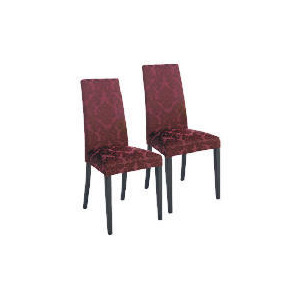 Photo of Pair Of Special Edition Lucca  High Back Upholstered Chairs, Purple Damask With Black Legs Furniture