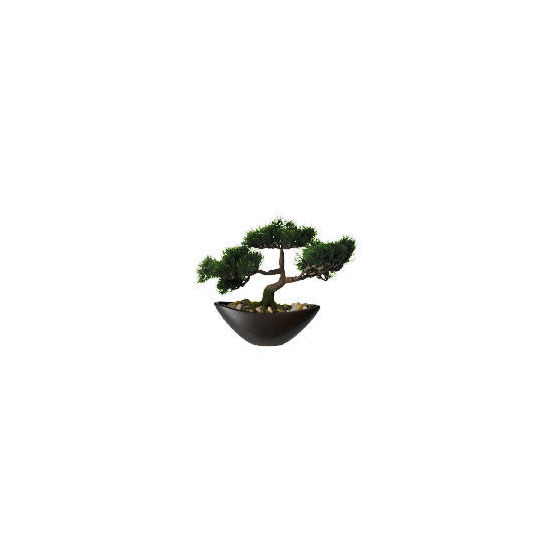 Artificial Images Large Cedar Bonzai In Boat Shaped Bowl