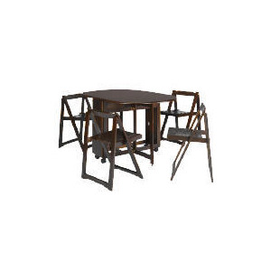 Photo of Manila Butterfly Table & 4 Chairs, Dark Wood Furniture