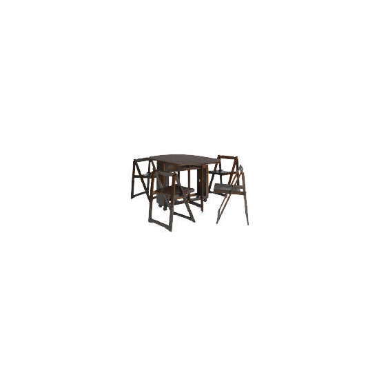 Manila Butterfly Table & 4 Chairs, Dark Wood