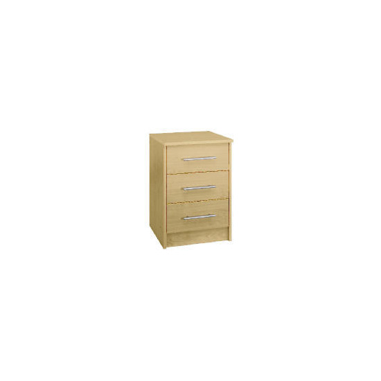 Brisbane 3 drawer Bedside Table, Maple